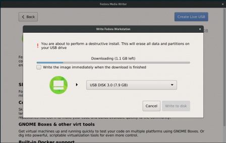 Nouvelle interface de Fedora Media Writer