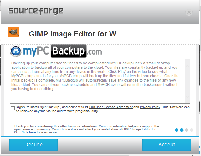écran additionel dans installation GIMP par Sourceforge