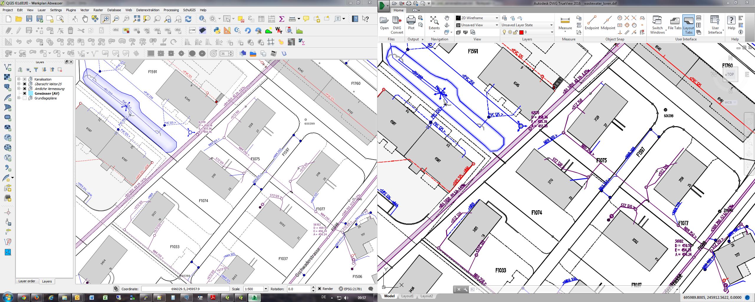 Vue comparative: QGIS/Autodesk trueview
