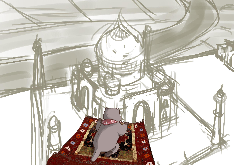 Marmotte survolant le Taj-Mahal (rough sketch)