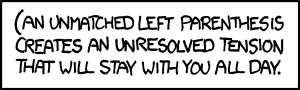 Xkcd unmatched parenthese