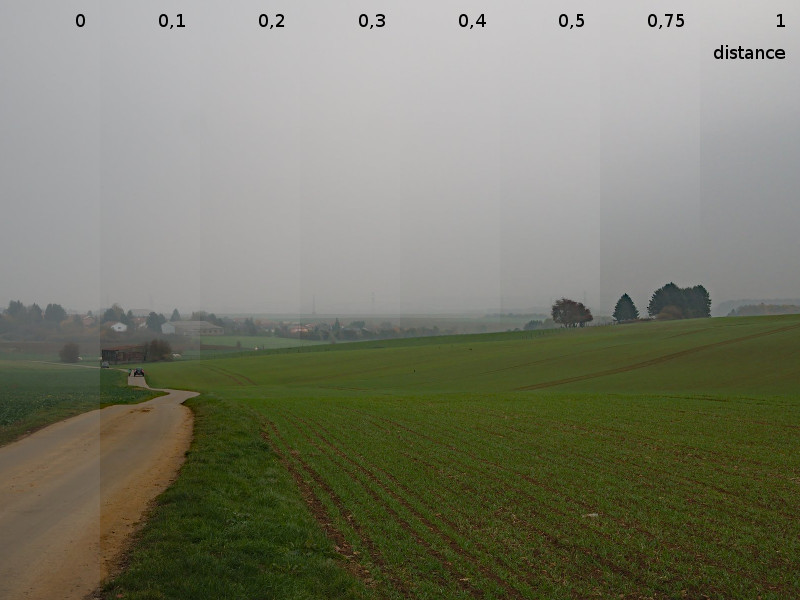 Suppression de la brume : effet du curseur de distance