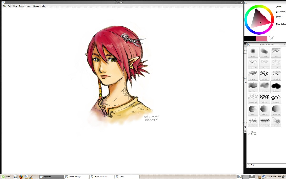 Interface de MyPaint