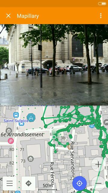 Mapillary dans OsmAnd: séquences visibles sur la carte