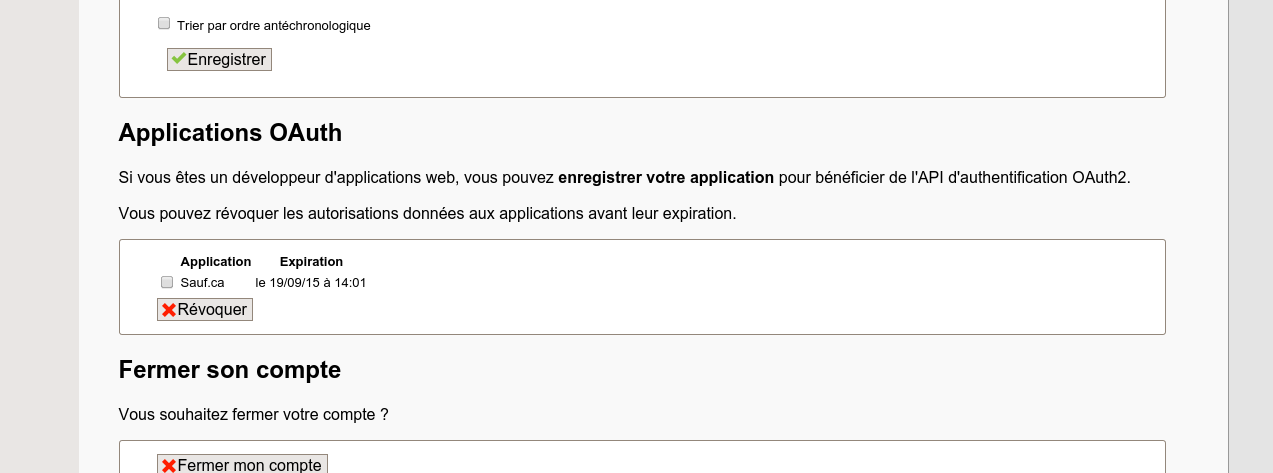 Interface de révocation des autorisations