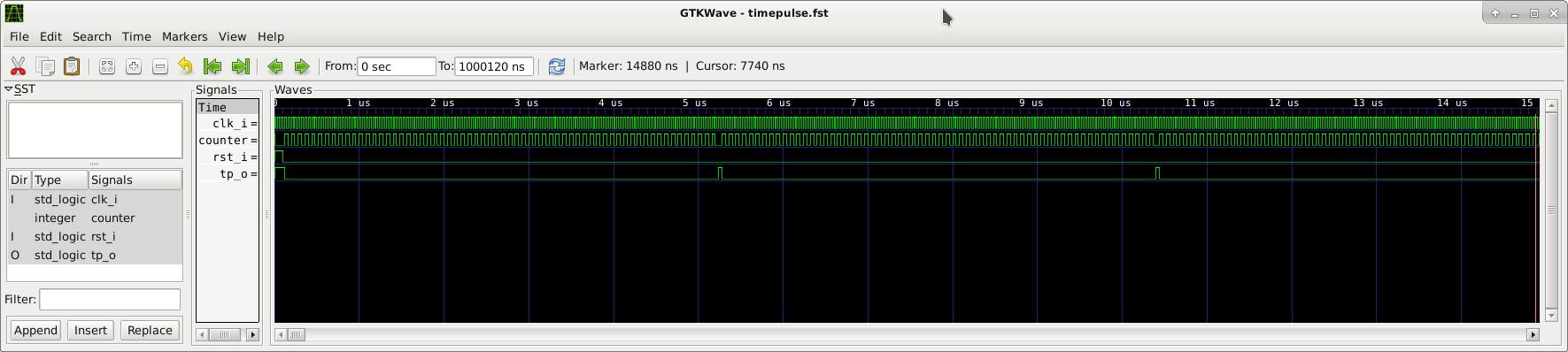 Visualisation de la simulation timepulse avec gtkwave