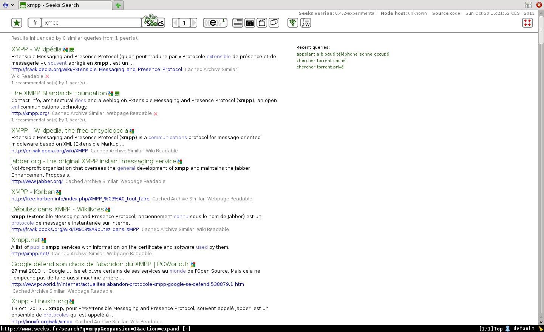 Capture Seeks, nœud public http://www.seeks.fr/
