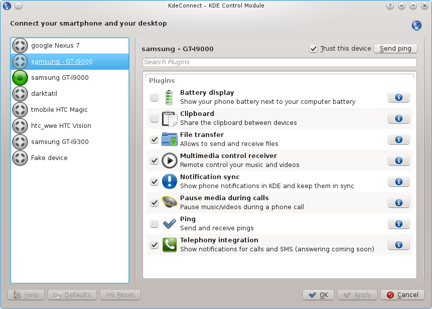 Module de configuration de KDE Connect
