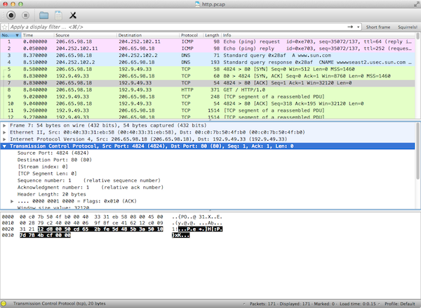 Capture d'écran de Wireshark en Qt sous Mac OS