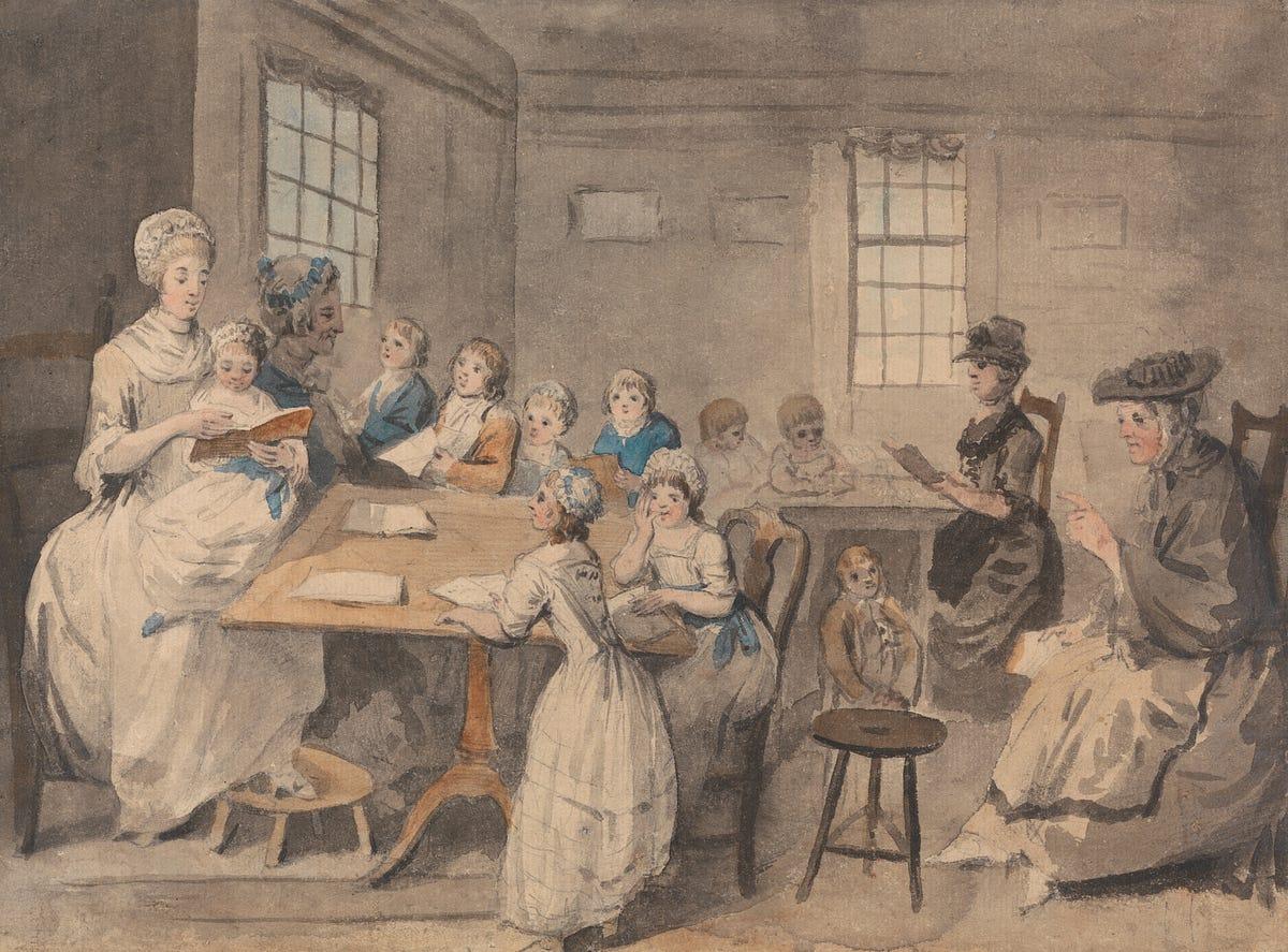 Elias Martin (1739-1818), lección de lectura en una escuela para niñas