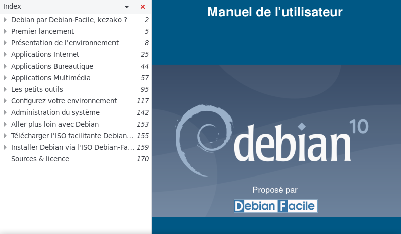 La documentation PDF jointe à l'ISO Debian-Facile