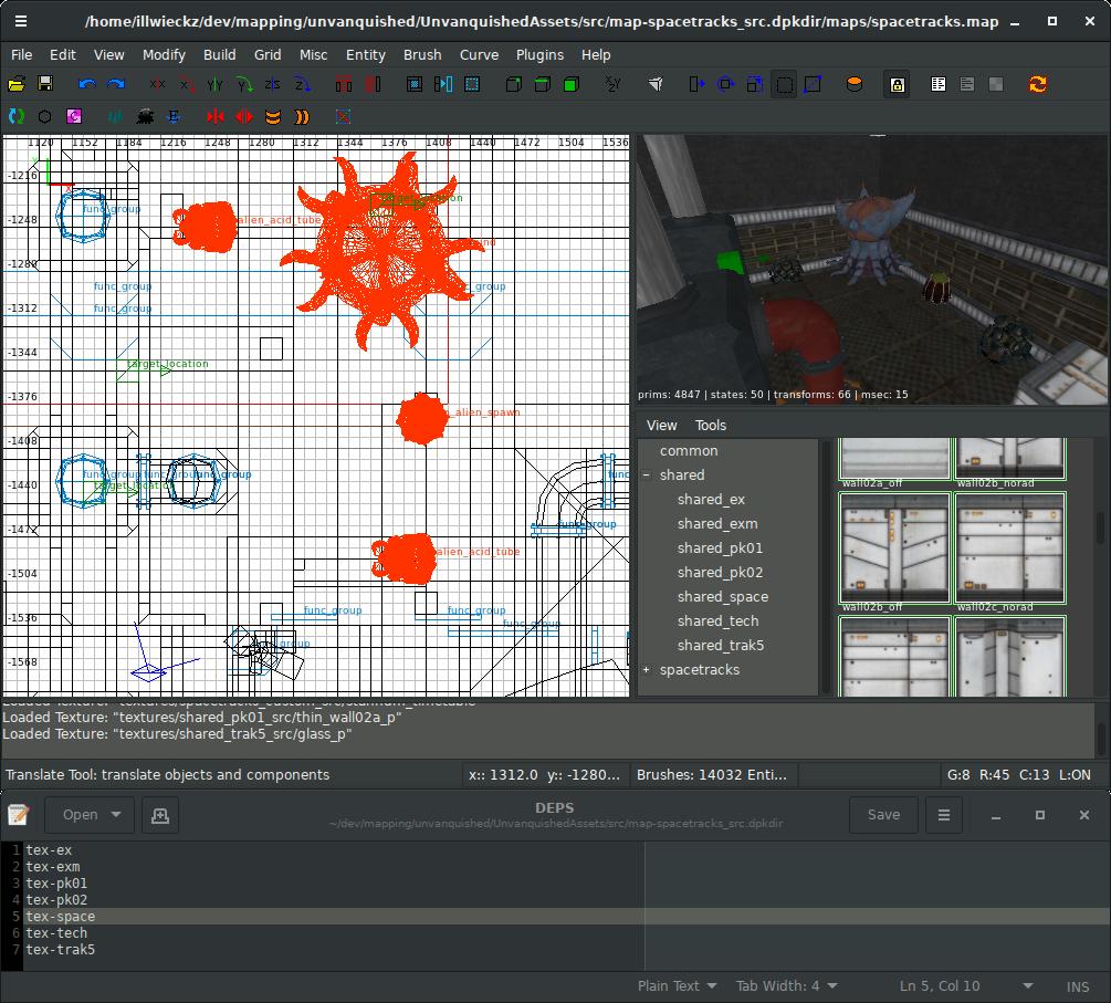 NetRadiant chargeant les sets de textures en fonction du fichier DEPS