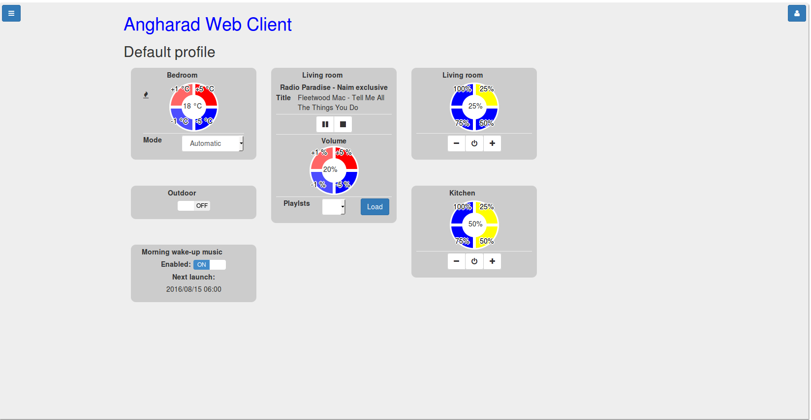 Angharad web client