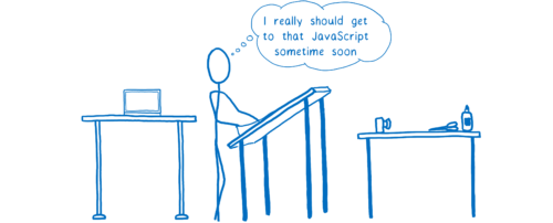 Processeur travaillant sur le coloriage et pensant «Je devrais vraiment me mettre à ce JavaScript bientôt»