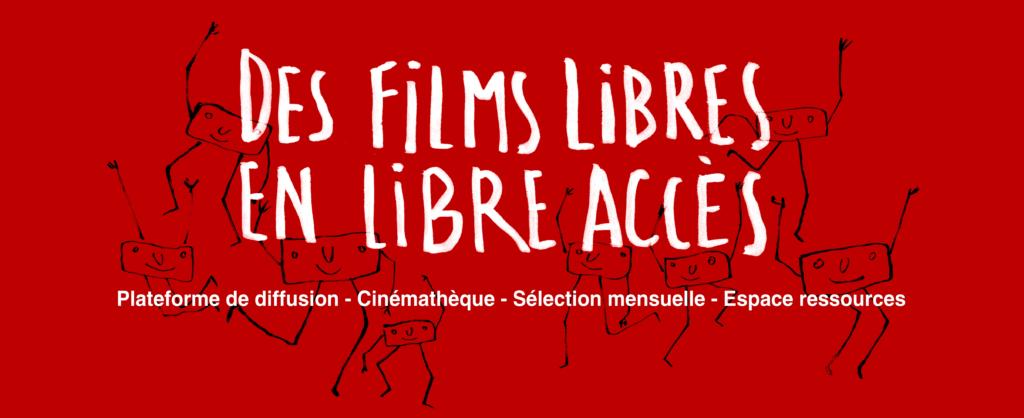 Des films libres en libre accès, plate‑forme de diffusion - cinémathèque - sélection mensuelle - espace de ressources, avec plusieurs Orci, mascotte de HorsCiné, en fond qui saluent