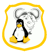 GNU/Linux - mélange de https://commons.wikimedia.org/wiki/File:Gnulinux.svg sous Free Art License & https://openclipart.org/detail/32989/eared-shield-1 sous CC0 1.0