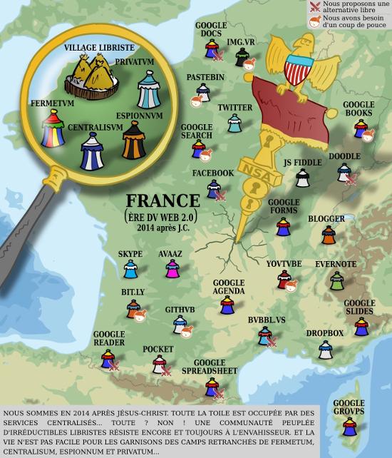 Carte illustrant l'invasion des services propriétaires (camps romains) face au camp des Libristes qui résiste (village gaulois)