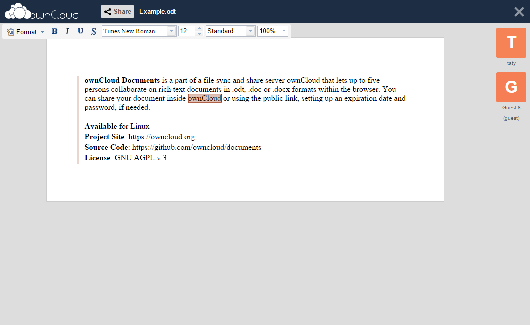 OwnCloud Documents