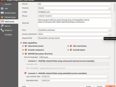 Paramètres OWS server