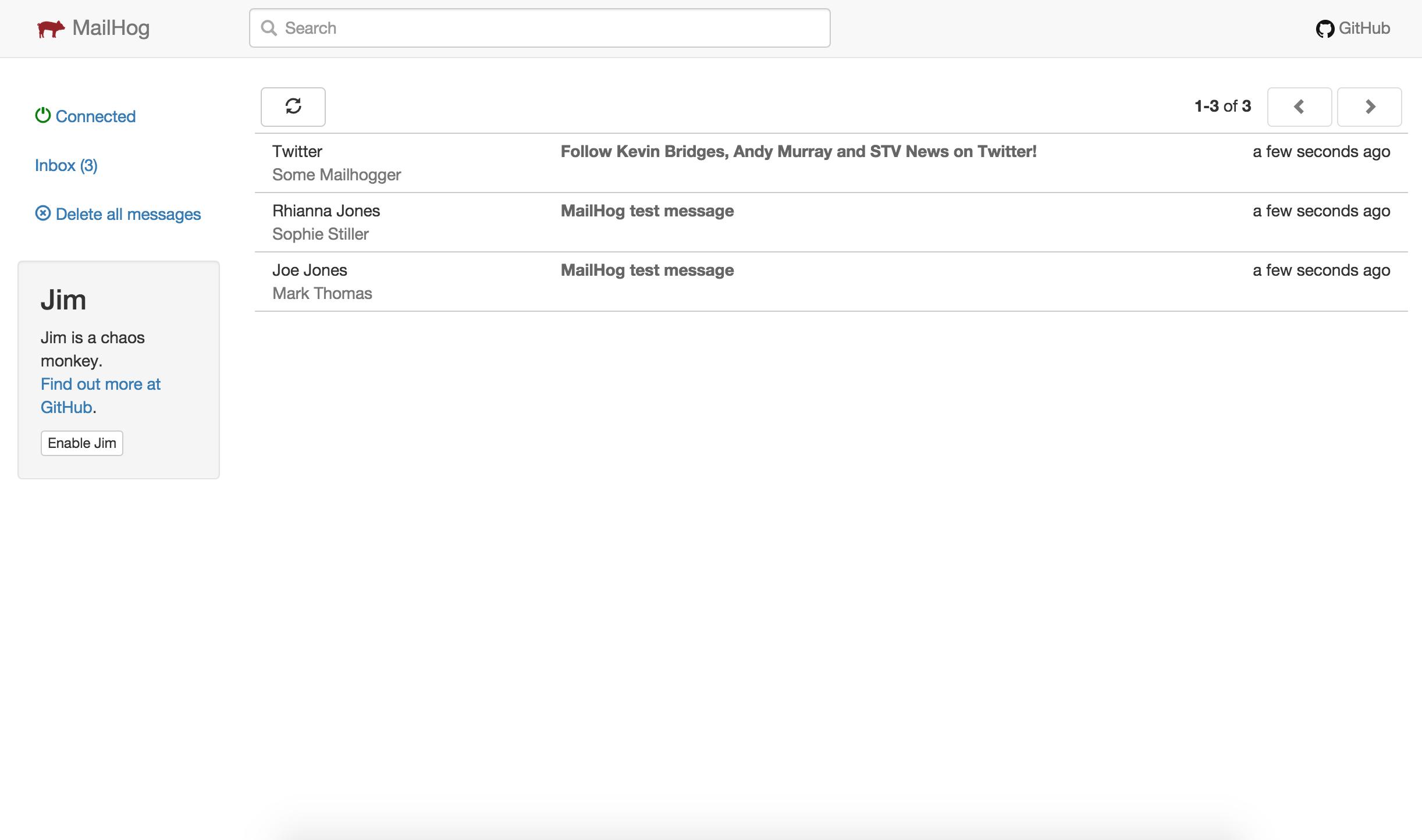 L'interface Web de MailHog avec trois courriels capturés