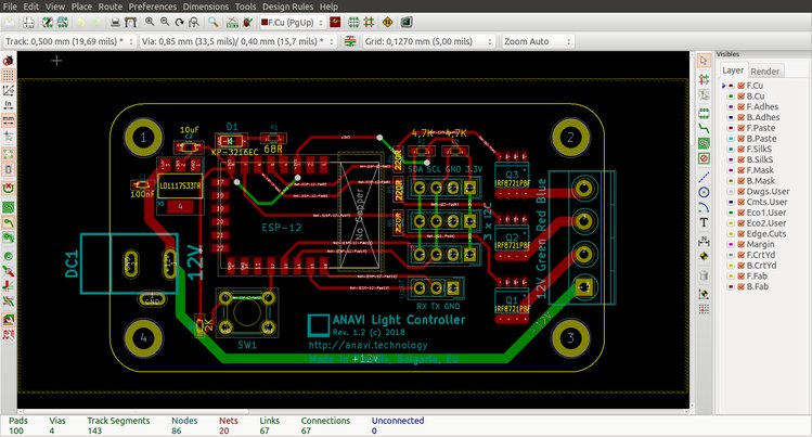 plan du Anavi Light Controller sur KiCAD