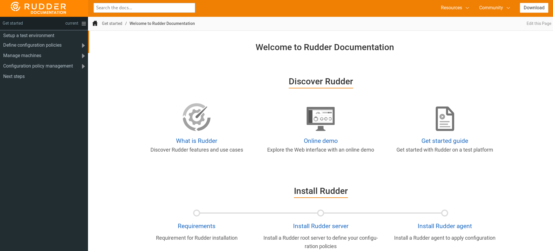 RUDDER 5 — interface de la nouvelle documentation docs.rudder.io